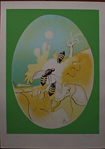 ENRICO VISANI litografia 1979 70x50 Api a Cielo firmata lapis numerata pda