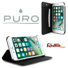 PURO Flip Wallet Cover BOOKLET Per iPhone 7 Custodia in Pelle Slim Stand up NERA