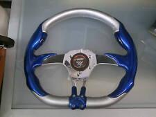 Volante tuning Simoni Racing blu elettrico lucido+pelle grigia effetto fibra