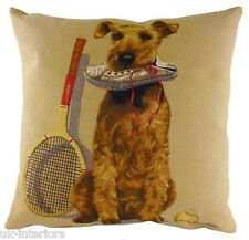 "18"" SPORTING TERRIER Dog Belgian Tapestry Cushion Evans Lichfield LC552 Tennis"