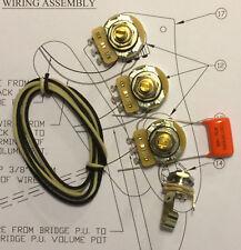 Wiring Harness Kit For J Bass 500k CTS 450G Knurled Pots .022uf 225P Orange Drop Cap