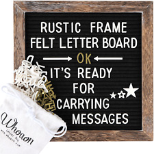Rustic Wood Frame Black Felt Letter Board 10x10 inches. by whoaon