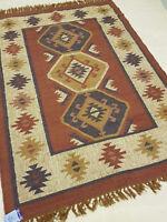 Jute Wool Kilim Rust Beige Blue 120x180cm Quality Hand Made Reversible rug