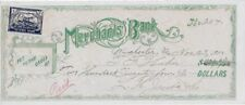 """1900 Merchants Bank Check with 2c Generic """"Business College Revenue Stamp"""""""