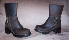 "NICE VINTAGE Women's Skechers Brown Leather Motorcycle Zip Boots 2.75"" Heels 9.5"