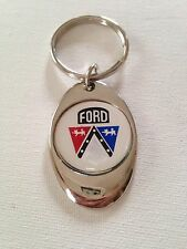 Ford Crest Keychain Lightweight Metal Chrome Style Finish key chain