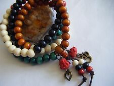 "Lotus Om Heart Yoga Healing Spiritual Unisex 28"" Mala Necklace/Bracelet Buddha"