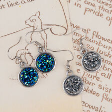 UK DRUZY SPARKLY DANGLE DROP EARRINGS / Silver Jewellery Gift Idea Peacock Round