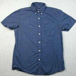 American Eagle Mens Button Up Shirt Size S Blue Slim Fit Polka Dot Short Sleeve