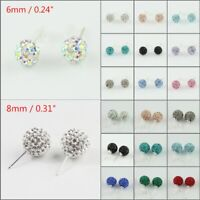 Women's Sparkle Czech Crystal Round Disco Ball 925 Silver Stud Earrings 6mm 8mm