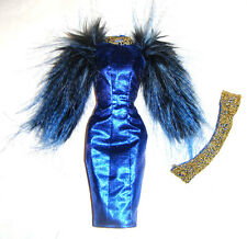 Barbie Sized Fashion Metallic Blue Dress/Golden Belt For Barbie Dolls fn959