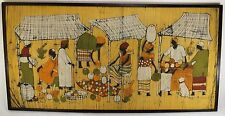 VINTAGE Continental AFRICAN Painting on Cloth SIGNED TRIBAL ART Wildlife Kenya