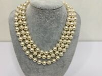 Vintage Faux Pearl Necklace Choker Three Strand Beaded Gold Tone Clasp 16-18""