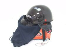 Motorcycle Half Helmet Vega CFS Gloss Black Weave Carbon Fiber Graphic Size XS