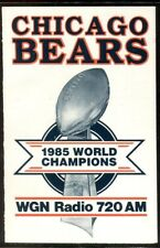 Schedule Football Chicago Bears - 1986 - WGN AM Super Bowl Champions
