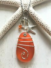 Sea Glass Necklace w Marble Orange Pendant Wire Wrapped & Starfish, Handcrafted