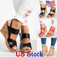 Women Lady Fashion Slingback Slingback Sandals Peep Toe Wedges High Heeled Shoes