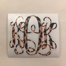 Real Leopard Print Vine Monogram Vinyl Decal Sticker for Yeti Tumbler iPhone