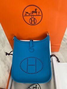 NEW!! Hermes clemence mini evelyne 16 tpm color:bleu frida