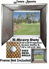 Golf Impact Projection Screen 10'x10' Baffle & 10'x10'x10' Practice Net No Frame