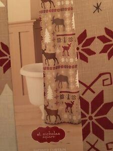 "St Nicholas Square Deer Patchwork Lodge 70"" X 70"" Christmas Tan Shower Curtain"