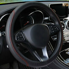 Black Red Leather Car Steering Wheel Cover 38cm Anti-slip Protector Elastic Band