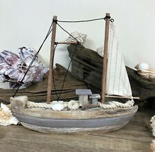 Natural Finish Wooden Boat with Shells Coastal Nautical Bathroom Decor