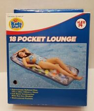 "New 18 Pocket White Lounge Raft For Pool by Kids Stuff Coil Beam 75"" x 28"""