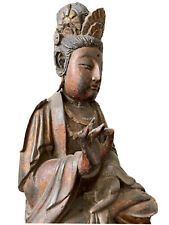 New listing Antique 18 19 C Qing Chinese Gold Wooden Guanyin Buddha Figure Statue
