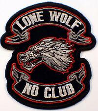 "Lone Wolf No Club Bike 6"" X 7"" Motorcycle Uniform Patch Biker"