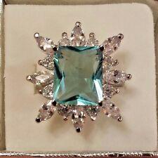 Sterling Silver Plated Large Aquamarine & White Topaz Gemstone Ring Size 6