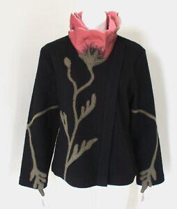 CoVelo By Anthropologie Wool & Silk Organza Flower Collar Sweater Jacket Sz M