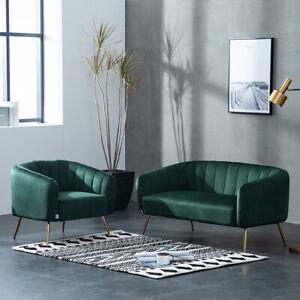 Green Fabric Sofa Velvet 2 Seater+Armchair Scallop Back/Lotus Tub Chair Gold Leg
