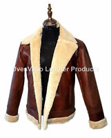 Men's Jacket Aviator Brown B3 Style Cow-Hide Real Leather Bomber Flying Jacket