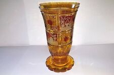 ANTIQUE BOHEMIAN ENGRAVED AMBER VASE WITH RUBY FLASH - Superb cutting