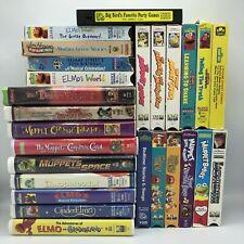 Vintage Sesame Street + The Muppets VHS Lot 26 TITLES Elmo Kermit Big Bird GUC