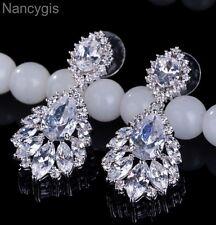 Elegant Cubic Zirconia Paved Crystal Flower Drop Party Bridal Wedding Earrings