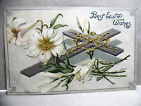 PC- 417 EASTER POSTCARD WITH CROSS AND FLOWERS - TUCK