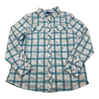 REI CoOp Womens Button Front Long Sleeve Shirt Size XL bLUE White Plaid Hiking