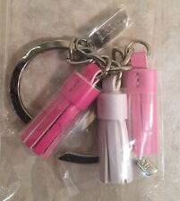 Clinique Pink Ribbon Breast Cancer Awareness Keychain Ring Key Chain NEW tassel