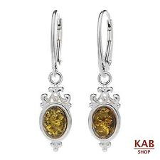 GREEN BALTIC AMBER STERLING SILVER 925 EARRINGS. KAB-290