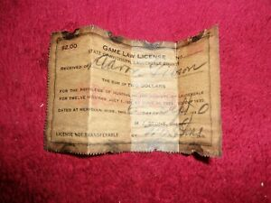 Original 1930-1931 Hunting License, State Of Mississippi,Lauderdale Co., So Awes