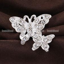 New Wedding Silver Butterfly Rhinestone Crystal Diamante Crystal Pin Brooch Gift