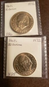 Haiti 50 & 20 Centimes 1972 Uncirculated + 3 Misc. Additional World Minor Coins
