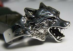DELUXE WOLF HEAD WITH TEETH BIKER RING #BR98 MEN WOMENS jewelry SILVER wolves