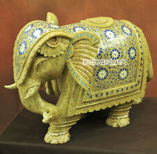 11'' Marble Elephant Semi Precious Stone Pietra Dura Inlay Showpiece Decor H3771