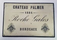 Wine Wall Plaque Bordeaux Roche Galos Chateau Palmer 1884 White Black Hanger