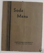 Soda Menu For Hartwig's Pharmacy Washington P.A. 1937 Moxie ++