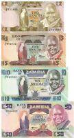 Zambia Set 4 PCS 2, 5, 10, 50 Kwacha, 1992-2012 UNC