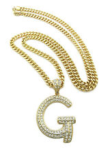 NEW Hip Hop Iced Out Letter G Initial Alphabet Pendant Crystals Gold Cuban Chain